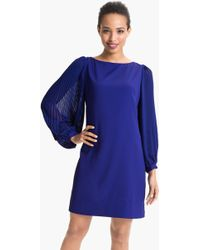 Eliza J Pleated Blouson Sleeve Shift Dress - Lyst