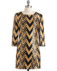 ModCloth Gold Lang Syne Dress - Lyst