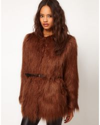 ASOS Collection Asos Shaggy Fur Belted Coat - Lyst