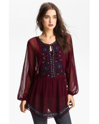 Free People Embellished Peasant Tunic - Lyst