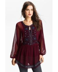 Free People Embellished Peasant Tunic purple - Lyst