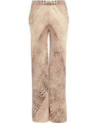 Willow Crocprint Silk chiffon Wide-leg Pants - Lyst