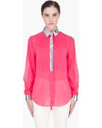 3.1 Phillip Lim Fuchsia Metallictrimmed Floating Silk Blouse - Lyst