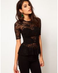 ASOS Collection Asos Lace Top with Corset Detail - Lyst