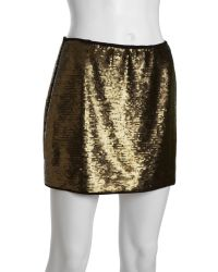 BCBGMAXAZRIA Bronze Sequined 'Catrine' Mini Skirt - Lyst