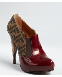 Fendi Oxblood Zucca Canvas and Leather Cone Heel Platforms - Lyst