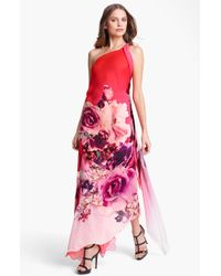 Roberto Cavalli Veronique Print One Shoulder Chiffon Gown - Lyst