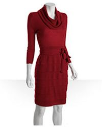 BCBGMAXAZRIA Stretch Wool Cowl Neck Ruffle Tiered Miriam Sweater Dress - Lyst