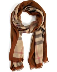 Burberry Bronze and Amber Haymarket Check Border Scarf - Lyst