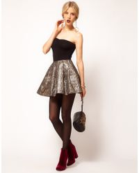 ASOS Collection Asos Gold Skater Skirt in Jacquard - Lyst