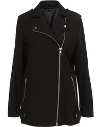 Topshop Boiled Wool Biker Coat - Lyst