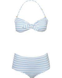 Topshop White Texture Stripe Bikini - Lyst