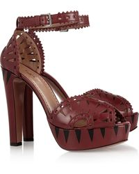 Alaïa Cutout Leather Sandals - Lyst