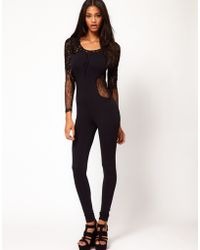 ASOS Collection - Asos Unitard with Contrast Panelled Lace - Lyst