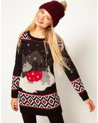 ASOS Collection Asos Christmas Scene Jumper Dress - Lyst