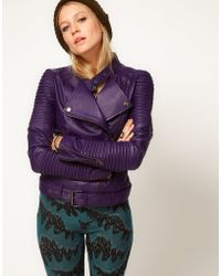 ASOS Collection Asos Leather Rib Detail Biker purple - Lyst