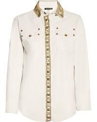 Balmain Crystalembellished Leather Shirt - Lyst
