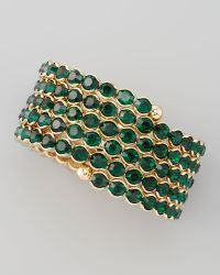 Cara Accessories Crystal Spiral Bracelet Green - Lyst