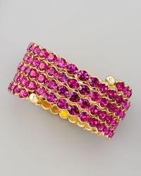 Cara Accessories Crystal Spiral Bracelet Pink - Lyst