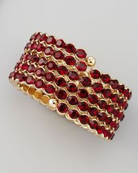 Cara Accessories Crystal Spiral Bracelet Red - Lyst