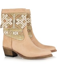 Cobra Society Handwoven Wool and Brushedleather Ankle Boots - Lyst