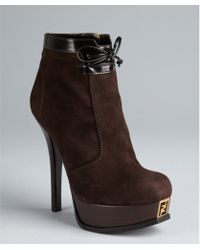 Fendi Brown Suede Zip and Bow Detail Platform Booties - Lyst