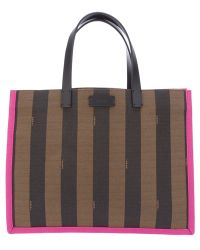 Fendi Pequin Striped Shopper Bag - Lyst