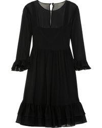 Giulietta - Ruffled Silk-georgette Dress - Lyst