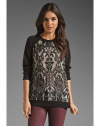Juicy Couture Lace Pullover Sweatshirt in Pitch Blackblack Lace - Lyst