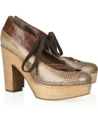 Marni Snakeeffect Leather Pumps - Lyst