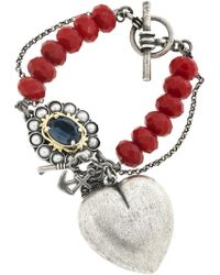 Mawi Silverplated Jade Charm Bracelet red - Lyst