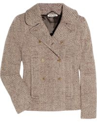 Miu Miu Double Breasted Tweed Peacoat - Lyst