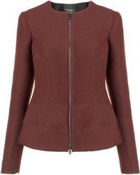Narciso Rodriguez Burgundy Fleece Wool Zip Jacket - Lyst