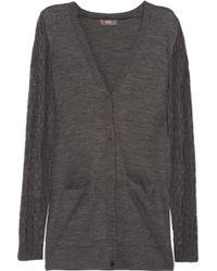 Vera Wang Contrastknit Wool Cardigan gray - Lyst