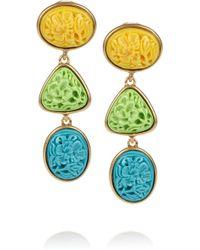 Oscar de la Renta 24karat Gold-Plated Carved Cabochon Clip Earrings - Lyst