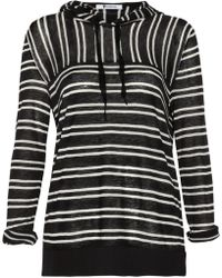 T By Alexander Wang Striped Hooded Fineknit Top - Lyst
