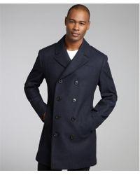 Hugo Boss Navy Virgin Wool Blend Double Breasted Coat blue - Lyst