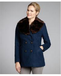 Laundry by Shelli Segal Teal Wool Blend Double Breasted Faux Fur Collar Coat - Lyst