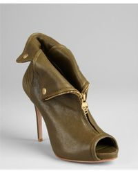 Alexander McQueen Olive Leather Zip Front Booties - Lyst