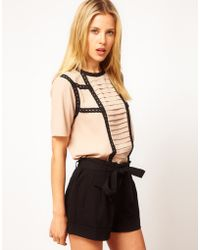 ASOS Collection Asos Blouse with Pintucks and Contrast Lace Trims - Lyst