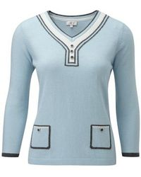 Cc Intarsia Pocket Button Trim Jumper blue - Lyst