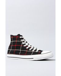 Converse The Chuck Taylor All Star Hi Sneaker in Black Plaid - Lyst