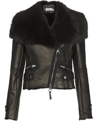 Karen Millen Shearling Biker Jacket - Lyst