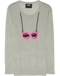 Markus Lupfer Sunglasses Sequin Embellished Merino Wool Sweater - Lyst