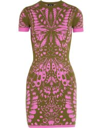 McQ by Alexander McQueen Butterfly Intarsia Stretch Knit Dress - Lyst