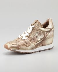 Ash Metallic Leather Lowtop Wedge Sneaker - Lyst