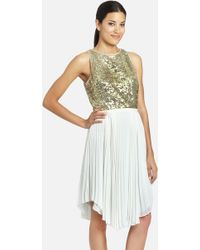 Cynthia Steffe Malena Sequin Bodice Pleated Handkerchief Dress - Lyst