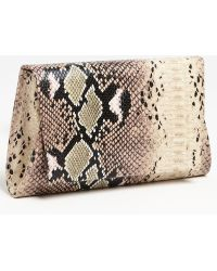 Natasha Couture Foldover Snake Embossed Clutch brown - Lyst