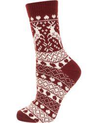 Topshop Wine Reindeer Fairisle Socks - Lyst