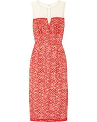 Alice By Temperley Alberto Lace and Mesh Dress red - Lyst